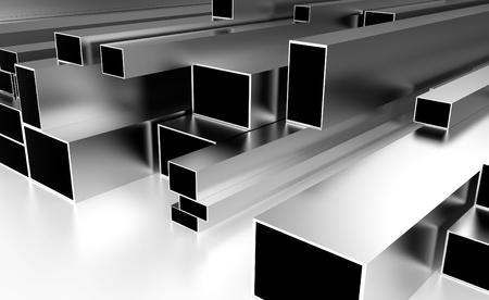 materiales de construccion: vigas metálicas apoyadas en un top blanco
