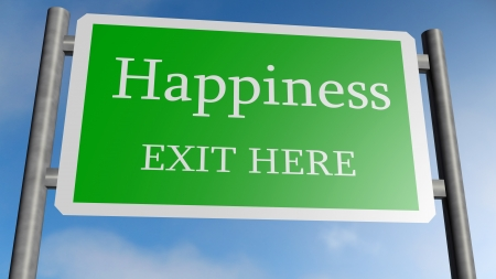 traffic sign with the word happiness