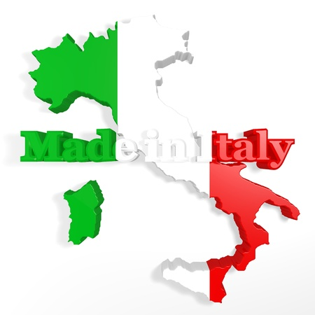 symbol of Italy in three dimensions with a written