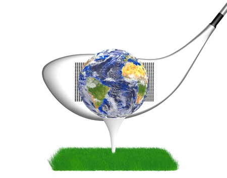 golf ball with the world above on a grass field