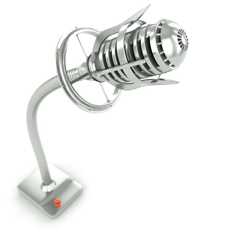 metal microphone�  in three dimensions with blur