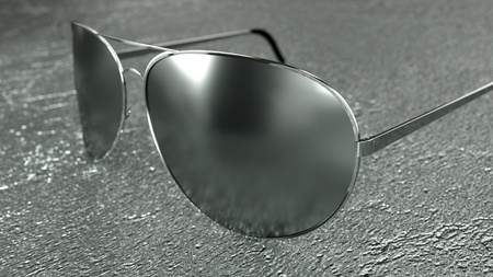chrome man: Sunglasses on a particular and modern surface