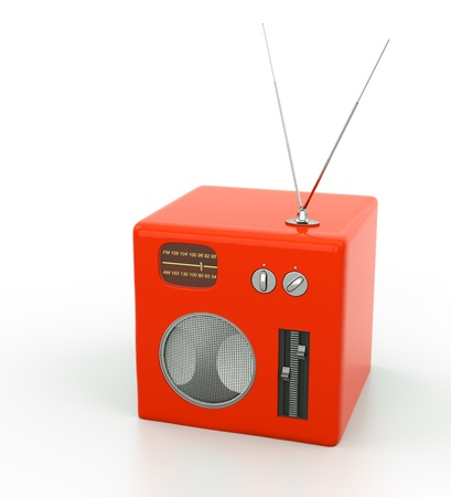 red radio in place with white background
