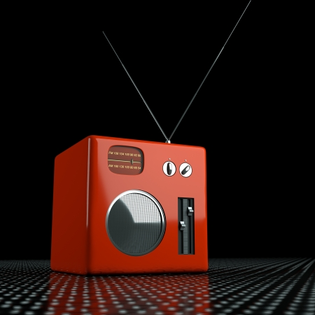 radio in the front with black background Stock Photo