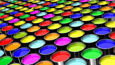 many cans of paint colors like a factory Stock Photo