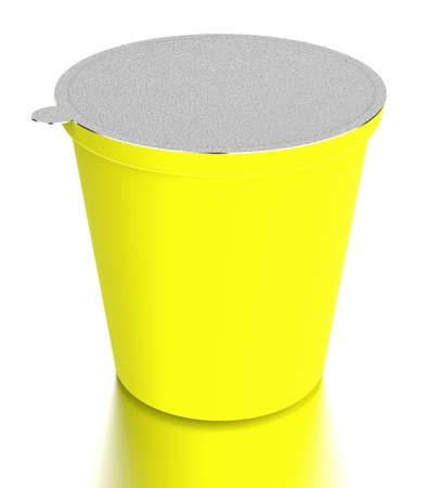 yellow  plastic food containe Stock Photo