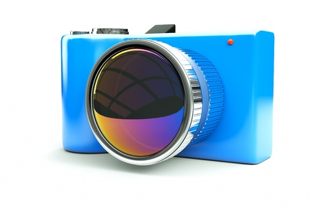 small and funny blue camera