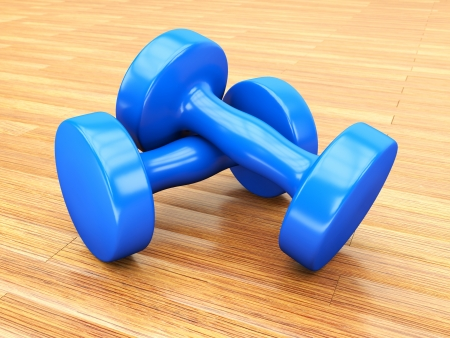 blue weights gym  Stock Photo