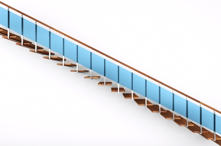 modern stairs with blue glass