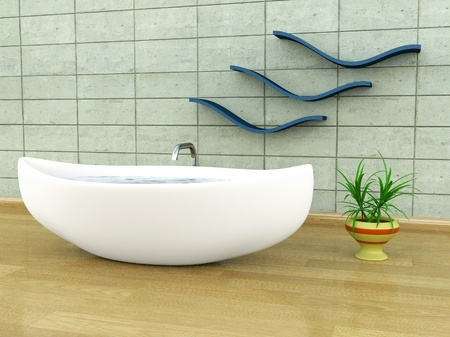 Viking-style bathtub Stock Photo