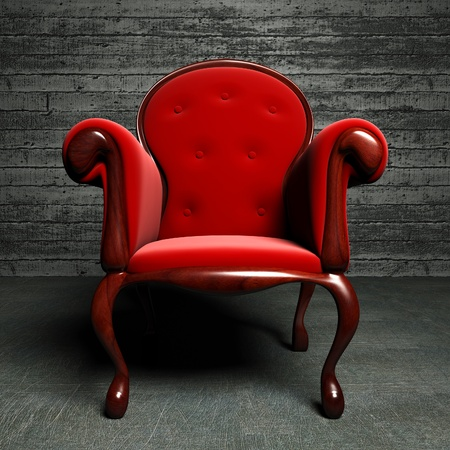 red silk armchair  Stock Photo
