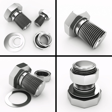4 images of bolts and nuts Stock Photo