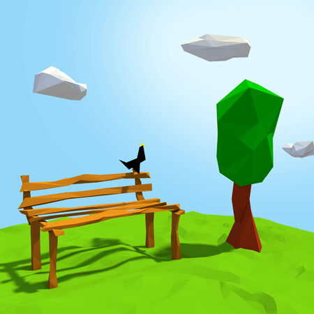bird on the bench in cartoon style Stock Photo