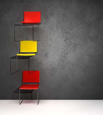 overthrown: chairs hanging on the wall in a conceptual way