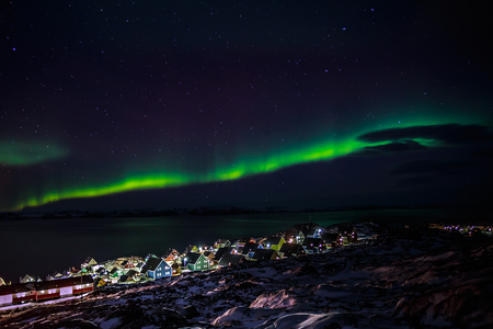 Greenlanic Northern lights, nearby Nuuk, Greenland