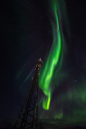 ionosphere: Northern lights over telecommunication tower, Nuuk Greenland