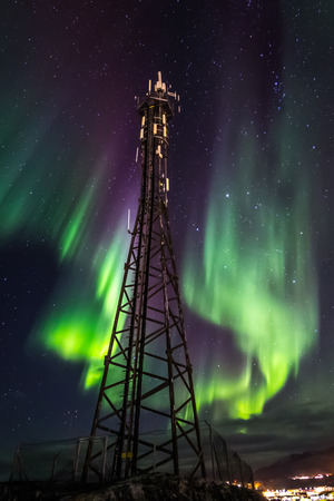 nuuk: Northern lights over telecommunication tower, Nuuk Greenland