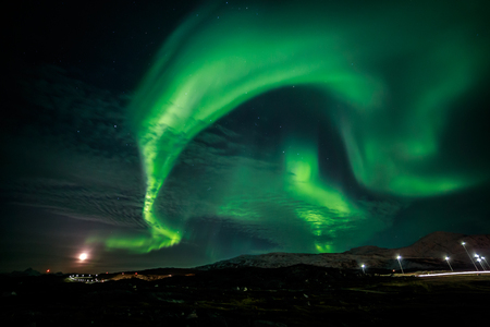 nuuk: Greenland northern lights, nearby Nuuk Stock Photo