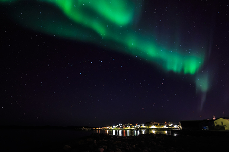 nuuk: Greenland northern lights over old harbor, Nuuk