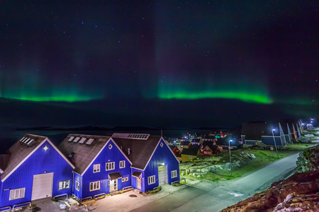 ionosphere: Greenlandic northern lights nearby Nuuk Stock Photo
