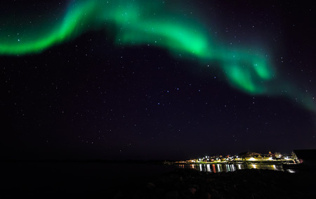 nuuk: Northern lights over the old harbor, Nuuk, Greenland, October 2015