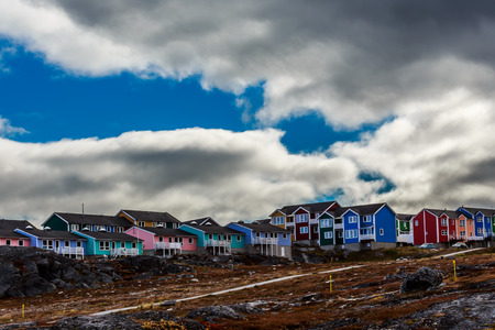 greenlandic: Colorful houses in Greenlandic capital Nuuk city