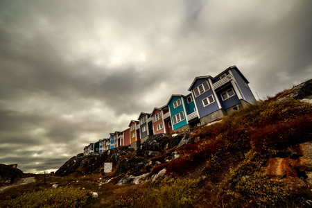 nuuk: Colorful arctic houses in Greenlandic capital Nuuk city