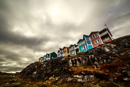 nuuk: Colorful Inuit houses in Greenlandic capital Nuuk city Stock Photo