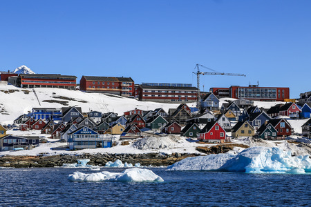 Growing Nuuk city, view from fjord, Nuuk Greenland