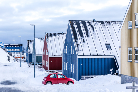 nuuk: Winter street in  Arctic capital Nuuk city, Greenland