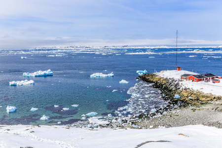 nuuk: View from the old harbor to the Nuuk fjord, Greenland Stock Photo
