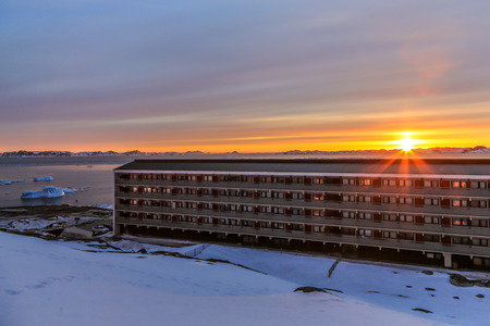 nuuk: Downtown of Nuuk city - the capital of Greenland Stock Photo