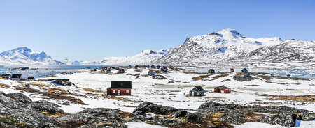 nuuk: Qoornoq former fishermen village, nowdays summer residence in the middle of Nuuk fjord, Greenland Stock Photo