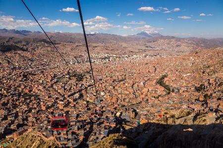 la paz: Cable cars in La Paz, Bolivia, May 2016 Stock Photo