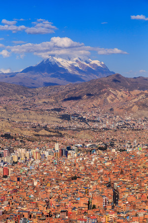 La Paz colorful panorama with a mountain ina background, Bolivian capital, South America, May 2016
