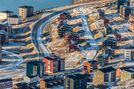 nuuk: Aerial view to the streets and buildings of Nuuk, Greenland Stock Photo