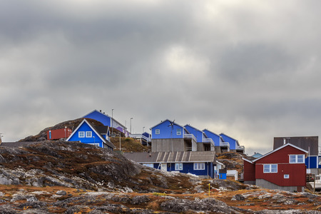nuuk: Colorful cottages hidden among the stones in the suburb of Nuuk city, Greenland