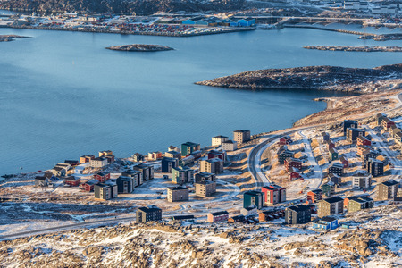 View from above to the streets and buildings of Nuuk, Greenland Stock Photo