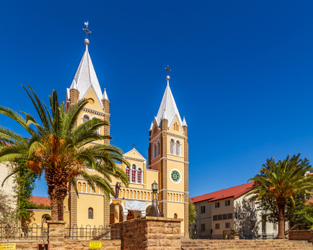 Catholic Saint Mary Church with blue sky  in background, Windhoek, Namibia Stock Photo