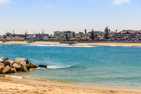 Condominiums at the coastline of Swakopmund German colonial town, Namibia