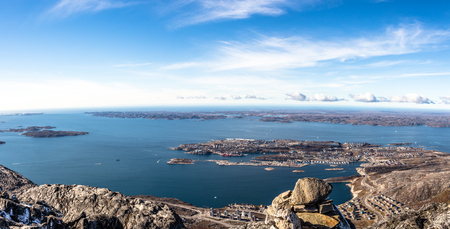nuuk: Daylight panorama of Nuuk city and surrounding fjords, Greenland