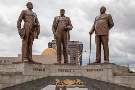Three Dikgosi  tribal chiefs  Monument, central business district, Gaborone, Botswana, 2017