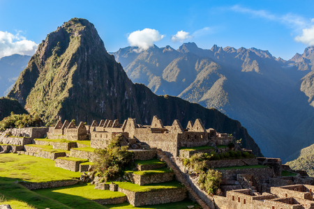 View from the top to old Inca ruins and Wayna Picchu, Machu Picchu, Urubamba province, Peru Stock Photo