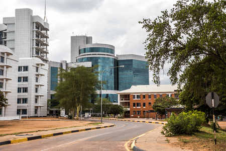 Modern plate glass building in central business district, Gaborone, Botswana, Africa, 2017