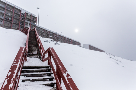 Stairs to the living blocks, after heavy snowfall Nuuk , Greenland