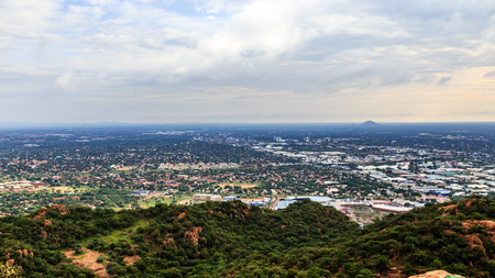 Aerial view of rapidly sprawling Gaborone city spread out over the savannah, Gaborone, Botswana, Africa, 2017