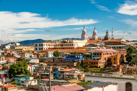 Panorama of the city center with old houses and poor slum blocks, Santiago de Cuba, Cuba