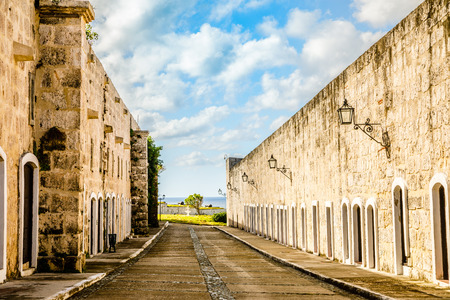 La Cabana inner yard fortress walls with blue sky and clouds, Havana, Cuba Editorial