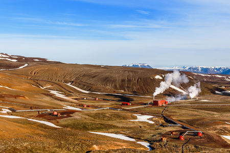 Icelandic landscape with geothermal power  station in the valley, Myvatn lake surroundings, Iceland 版權商用圖片 - 97203307