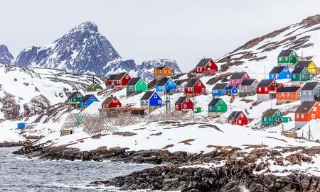 Village Kangamiut au milieu de nulle part, Groenland Mai 2015 Banque d'images